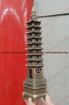 Antique bronze Vintage peace Pagoda /pagod Statue Tower 9-Tier