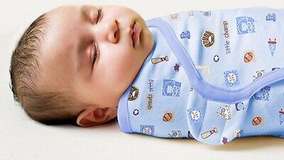 SUMMER Swaddle ME 100%Cotton Easy Boy Wrap Swaddle Size Newborn-four months old