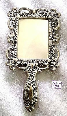 Lovely antique German silver tone purse Mirror Vanity Makeup Style Hand Mirrors