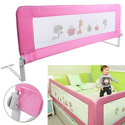 150cm Child Toddler Safety Bed Rail Baby Bedrail Fold Cot Guard Protection Pink