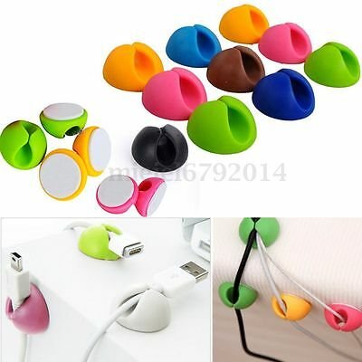 10pc Cable Clip Organiser Desk Tidy USB Charger Line Holder Wire Drop Lead Fixer