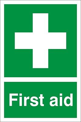 Pack of 2 FIRST AID signs, 200mm x 300mm Self adhesive Sticker