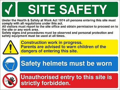 Construction Work In Progress Site Safety Sign 300mm x 200mm - Rigid Plastic