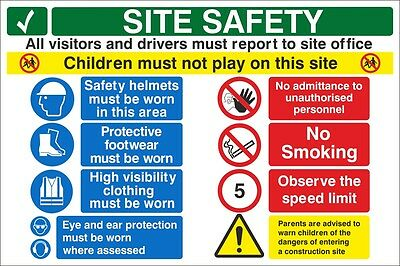 Construction Site Safety Sign. 300mm x 200mm - Rigid Plastic