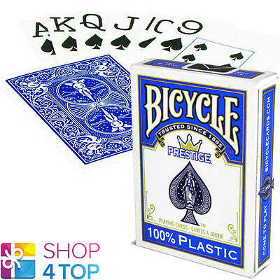 Bicycle Prestige 100% Plastic Poker Playing Cards Deck Jumbo Index Blue Usa New
