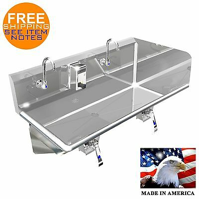 """Hand Sink Industrial 2 Person 54"""" Hands Free Ss304 Right Side Splash Made In Usa"""