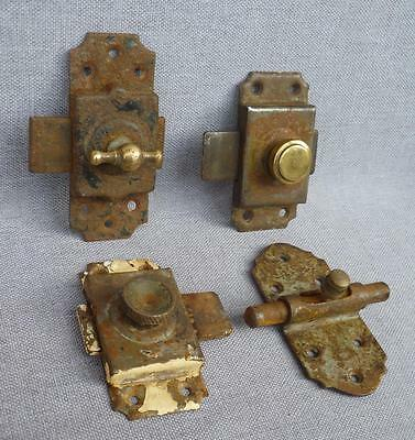 4 antique french door locks, early 1900's made of brass and cast iron