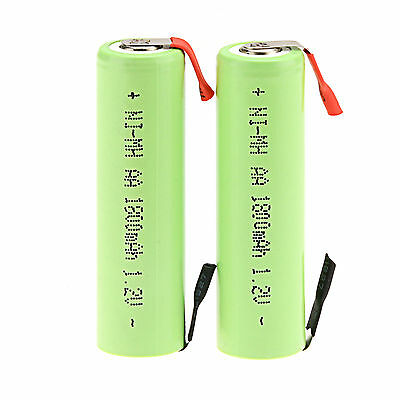 Lot of 2Pcs 1.2V AA 1800mAh Ni-MH Rechargeable battery for Electric Shaver razor