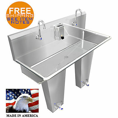 "Hand Sink 2 Station 48"" Single Pedal Valve Hands Free Stainless Stl. Made In Usa"