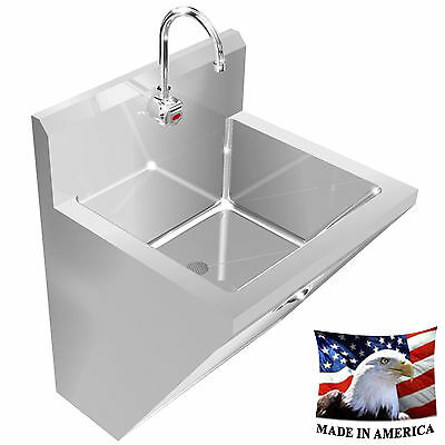 "Surgeon's Hand Sink Elect. Faucet Hands Free Single Station 24"" Stainless Steel"