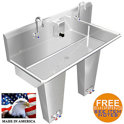"Hand Sink 2 Users Multistation 42"" Pedalvalve Hands Free Stainless S Made In Usa"