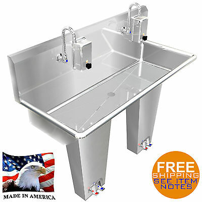 "Hand Sink Stainless Steel 2 Person Multi Station 40"" Pedal Valve Made In America"