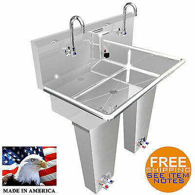 "Hand Sink 2 Person Multistation 36"" Pedal Valve H.d. Stainless St. Made In Usa"