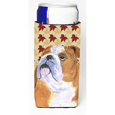 Bulldog English Fall Leaves Portrait Michelob Ultra bottle sleeve for Slim Can