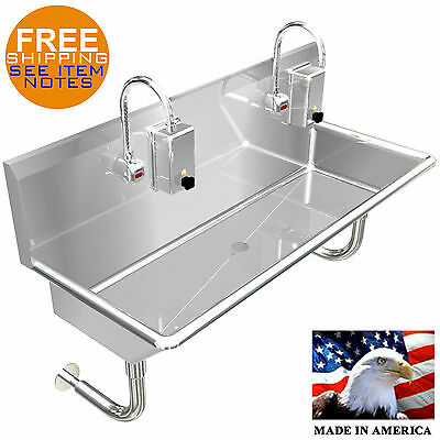 "Hand Sink 2 Station 40"" Industrial Hands Free 304 Stainless Steel Heavy Duty"