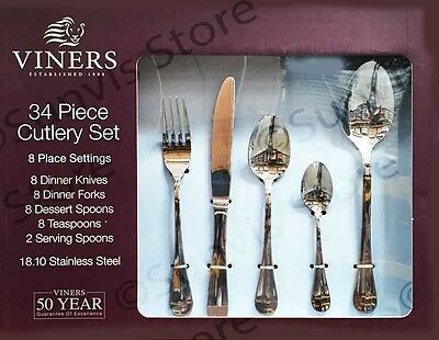 Viners 34 Piece 18/10 Stainless Steel Cutlery Set 2016