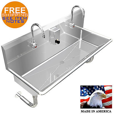 "Hand Sink, Electronic Faucet 42"" 2 Person Hands Free Stainless Steel Heavy Duty."