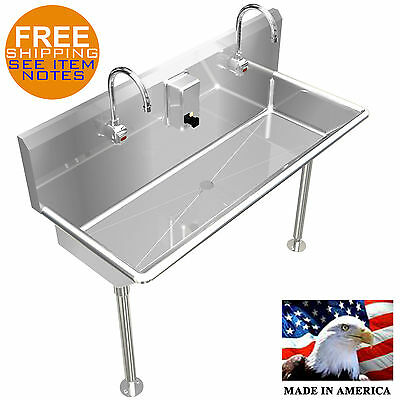 """2 Person Multistation 42"""" Hand Sink Hands Free Lavatory Stainless Steel Heavy D."""