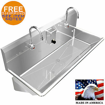 "Wash Up Hand Sink Multistation 2 Users 42"" Elec. Faucet Lavatory Stainless Steel"