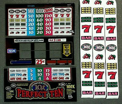 IGT Slot Machine PERFECT TEN 3 Reel Glass Kit With Strips & Software
