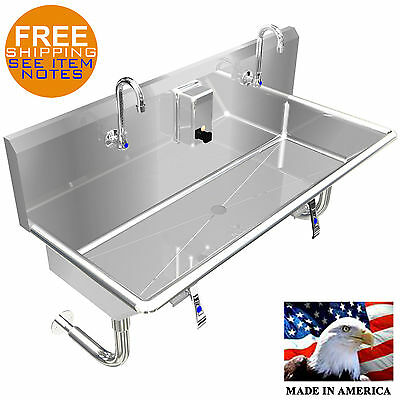 "Multistation 2 Users Wash Up Hand Sink 48"" W/knee Valve"