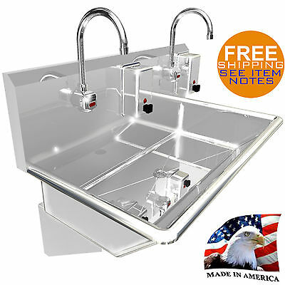 """Hand Sink 2 Users Multistation 36"""" Electr. Faucet 2 Soap Dispensers Made In Usa"""