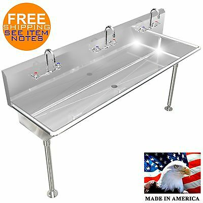 "Industrial Multi User, 3 Person, Hand Sinks 60"" 14Ga Hd No Soap Dispensers"