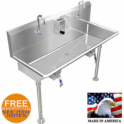 "Hand Sink 40"" 2 Users Multistation Hands Free With Legs Basin Lavabo Stainless S"