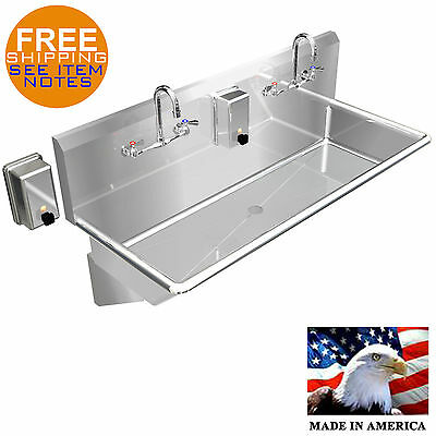 "Hand Sink Industrial Multistation Basin 2 Users 48"" Stainless Steel Made In Usa"