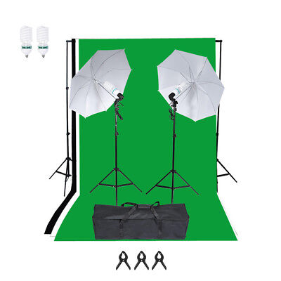 2000W Photo Studio Background Lighting Kit Umbrella Backdrop Stand Bulb Set