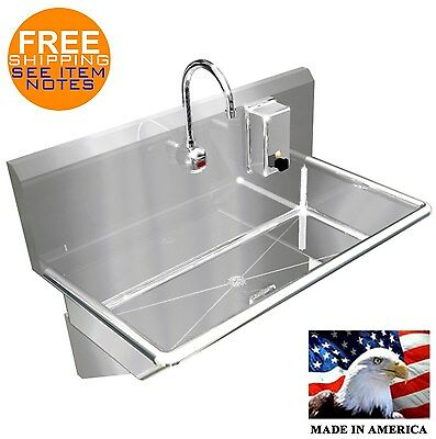 "1 User 3'=36"" Single Station Hand Sink, Electronic Faucet #304 Stainless Steel"