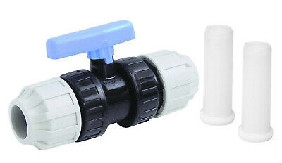 32mm Blue MDPE Water Pipe Stopcock Stop Cock Tap Water Main Switch Ball Type