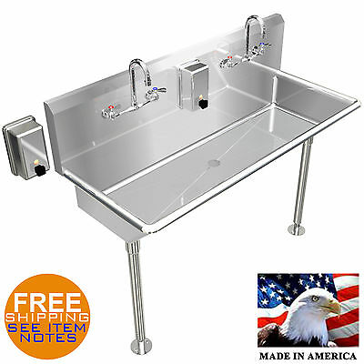 "Hand Sink Stainless Steel 42"" Industrial Heavy Duty 2 Users Wash Up Made In Usa"