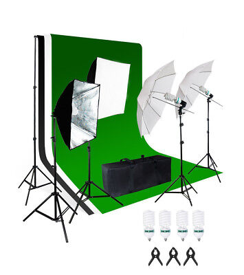 PhotR 2700W Photo Studio Background Lighting Set Softbox Umbrella Stand Bulb Kit