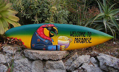 Welcome 2 Paradise Wood Surfboard Beer Tiki Bar Sign w/ shark bite Man Cave 39""