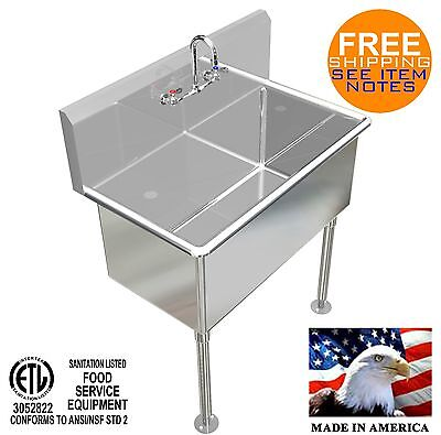 "Hand Sink 36""x20""x15""deep Tub Heavy Duty Stainless Steel Washing Made In America"