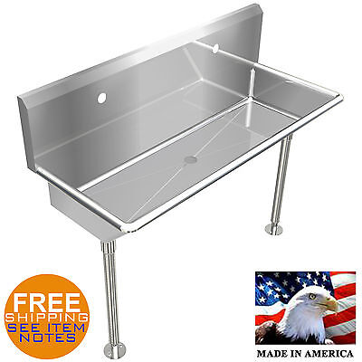 """Industrial 2 Users Multistation Wash Up Hand Sink 48"""" Stainless Steel With Legs"""