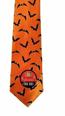 Dennis East Adult Size Musical Halloween NeckTie, Bats