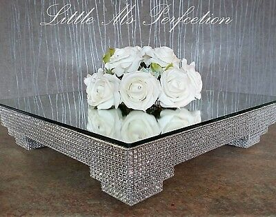 Square Diamante  Crystal Effect Wedding Display Cake Stand   Silver Gold
