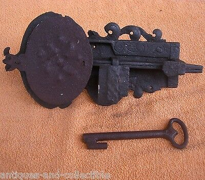 Antique 19c OTOMAN slide bolt latch LOCK with KEY - Handmade - Smith made • CAD $423.72