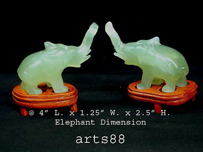 Green Jade Elephant with Pedestal #1 pair
