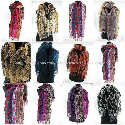 US Seller-10pcs wholesale flower boho chunky bouncy warm winter scarf
