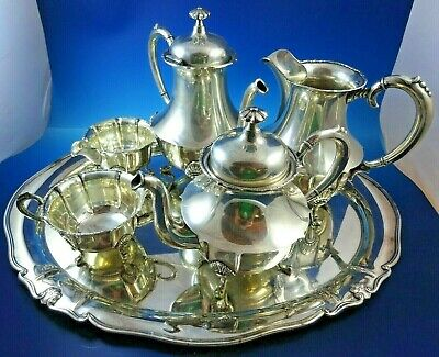 Norwegian 830 Silver Tea Set with Shell Design by Brodrene Lohne
