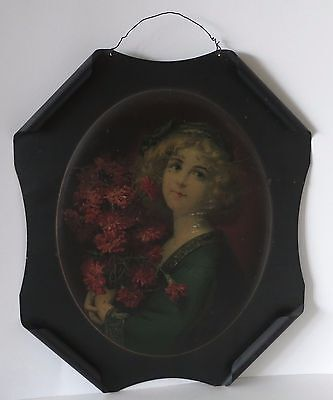 Carnation Girl Copyrighted 1908 By The Meek Co Antique Tin Sign, Rolled Edges