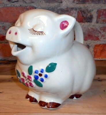 Vintage Smiley Smiling Pig Pitcher Embossed Flowers Shawnee Pottery USA