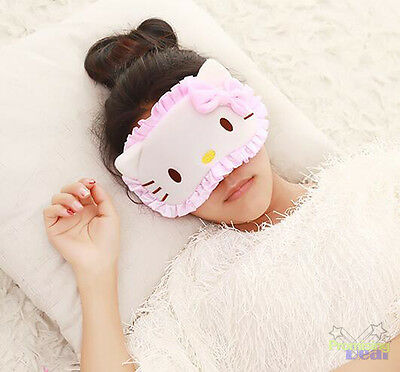 Cute Pink For Hello Kitty Women Soft Sleep Aid Mask Eye Shade Blindfold Cover