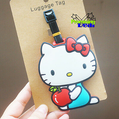 Cute Hello Kitty Silicone Luggage Tags ID Card Holder Case Pink