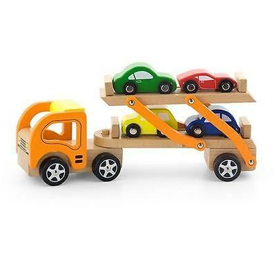 NEW Viga Toys Wooden Semi Truck / Car Carrier with 4 Cars