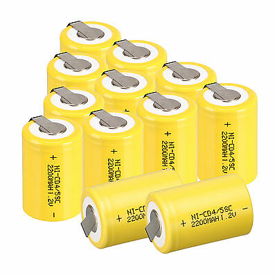 Lot of 12PC NiCd 4/5 SubC Sub C 1.2V 2200mAh Ni-Cd Rechargeable Battery With Tab