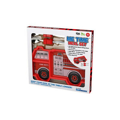 NEW Funwares Me Time Fire Engine Melamine Dinner Set - inc Plate and Cutlery